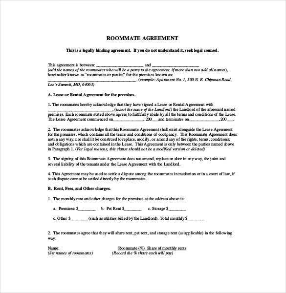 Great Roommate Rental Agreement Form PDF Format Download