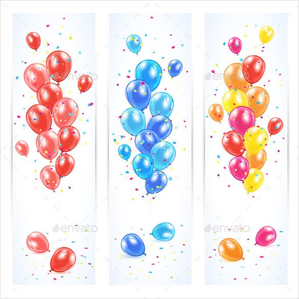 three birthday banners with colorful balloons