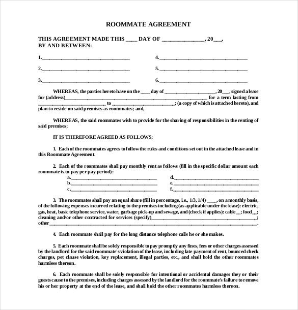 Roommate Agreement Template – 10+ Free Word, PDF Document Download ...