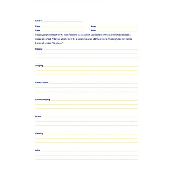 Roommate Agreement Template – 11+ Free Word, PDF Document Download ...