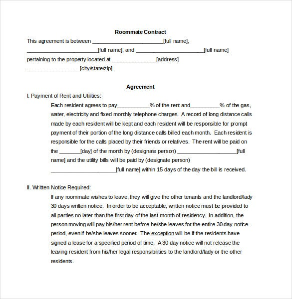 Roommate Agreement Template – 10+ Free Word, Pdf Document Download