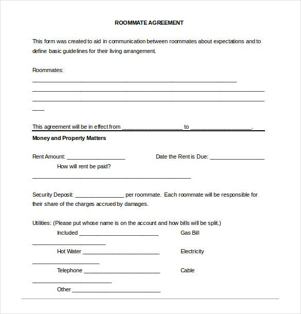 Roommate Agreement Template   Free Word Pdf Document Download