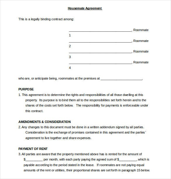 Printable Sample Roommate Agreement Form. 40 Free Roommate