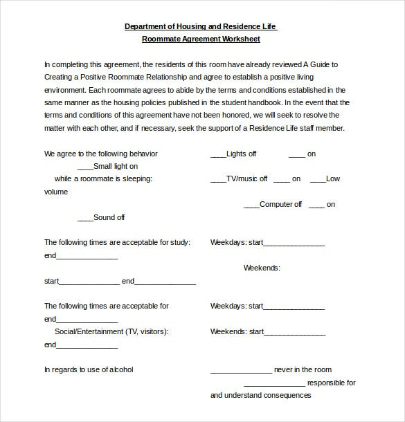 Roommate Agreement Template   Free Word  Document Download