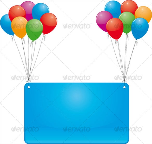 sky flying birthday banner template