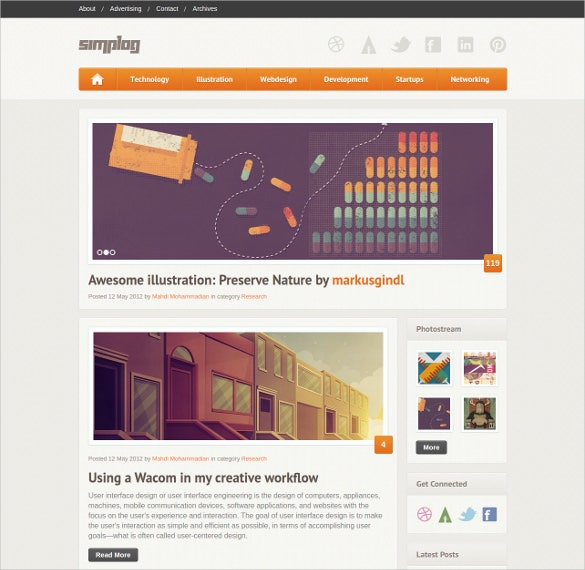 simple responsive html5 blog template