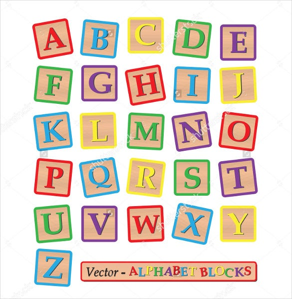 colorful blocks with the alphabet isolated on a white background