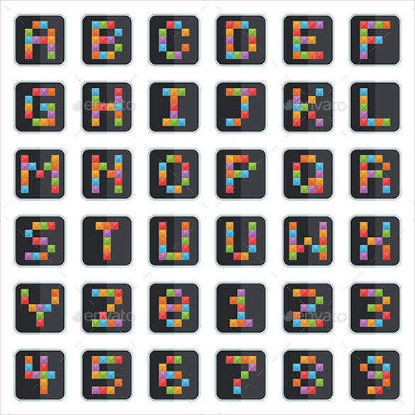 bright alphabet squares vector eps download