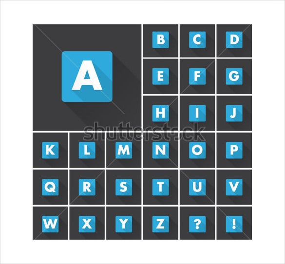 alphabet square font icons shadow template download