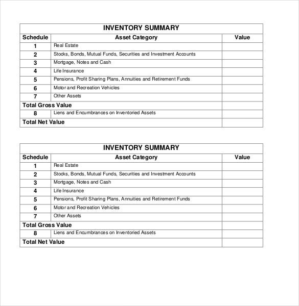 summary pdf inventory form download