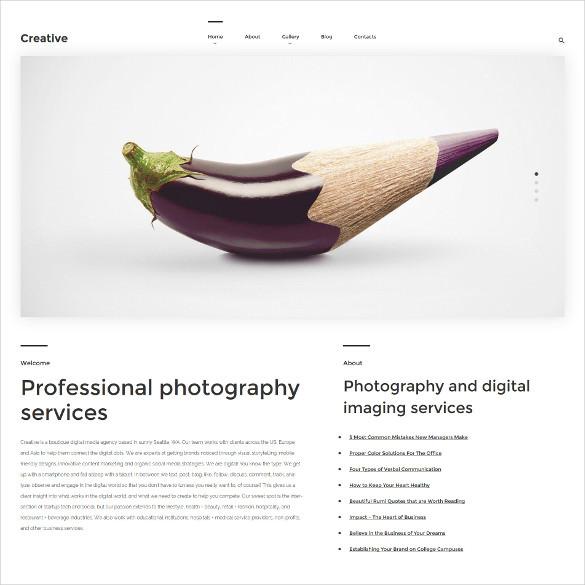 premium creative photography wordpress blog theme