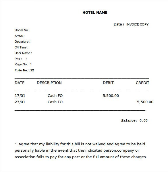 Hotel Receipt Template Free Word Excel PDF Format Download - Hotel invoice template