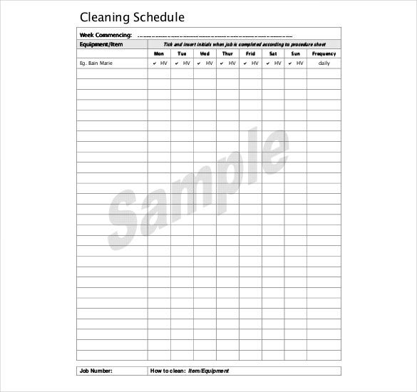 Kitchen Cleaning Schedule Template 3 Free Word PDF Documents – Sample Cleaning Schedule Template