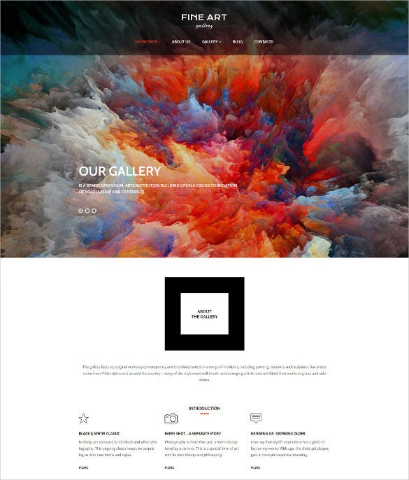 photo art gallery responsive wordpress blog theme