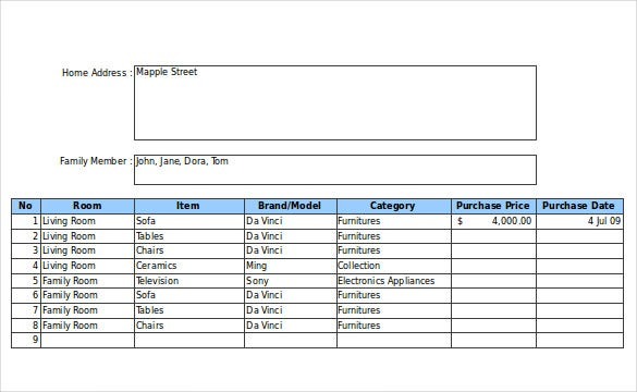free home inventory form in excel format