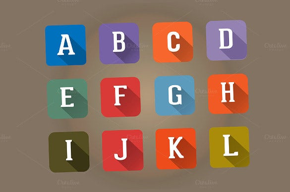 set flat icons alphabet square letter template download