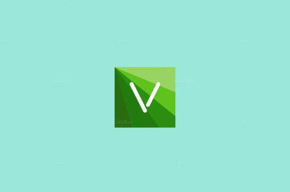 abstract letter v logo design in square