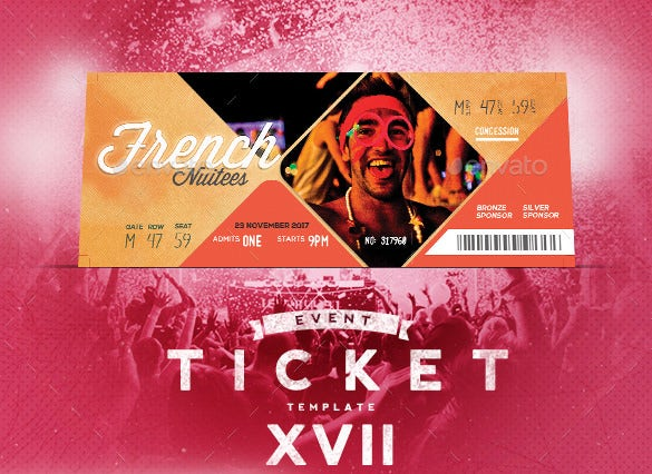Event Ticket Design Template Kleobeachfixco - Ticket design template photoshop