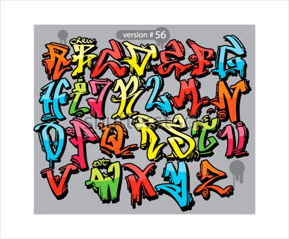 alphabet graffiti letter style template download