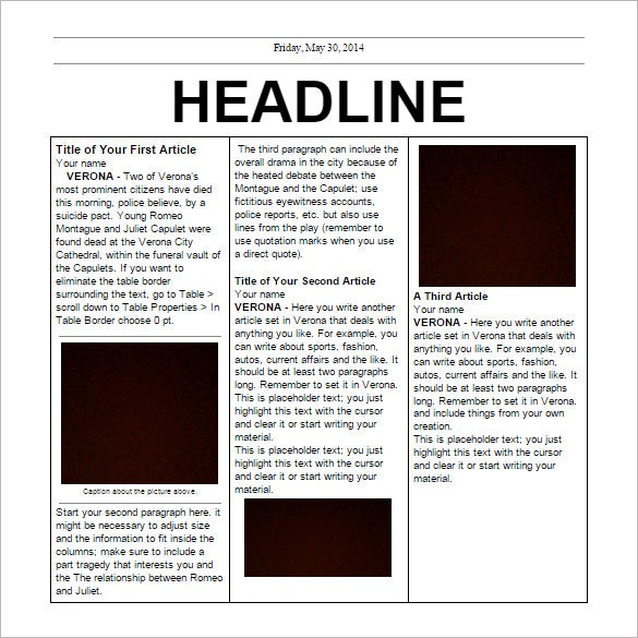 Newspaper Headline Template Newspaper Article Template Sample