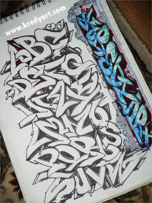 graffiti letters on gray background