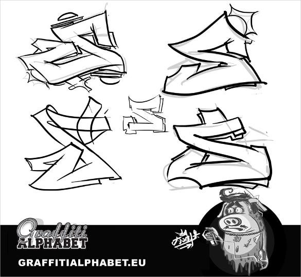 graffiti letter alphabet template 5