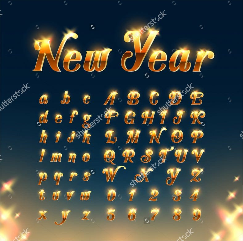 happy new year with golden cool letters and numbers template 788x782