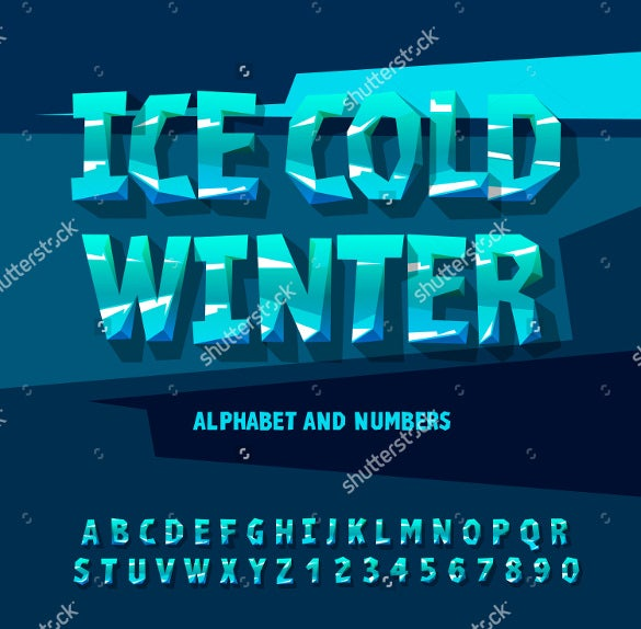 cool ice alphabet and numbers vector illustration