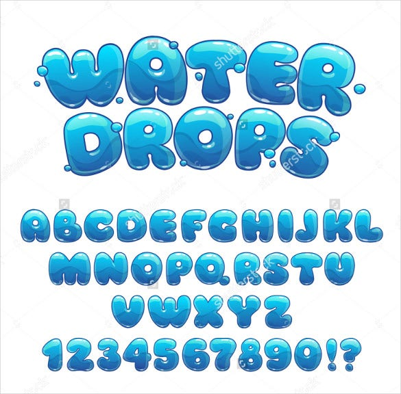 Cartoon Cool Alphabet Vector Water Letters And Numbers