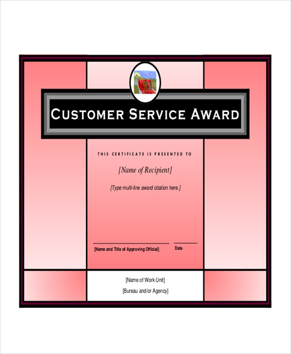 customer service award template