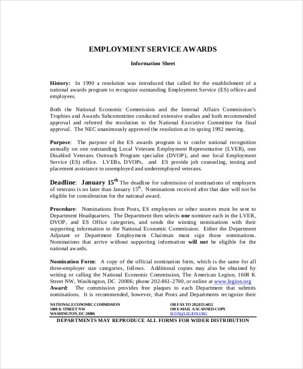 Employment-Service-Award-Template