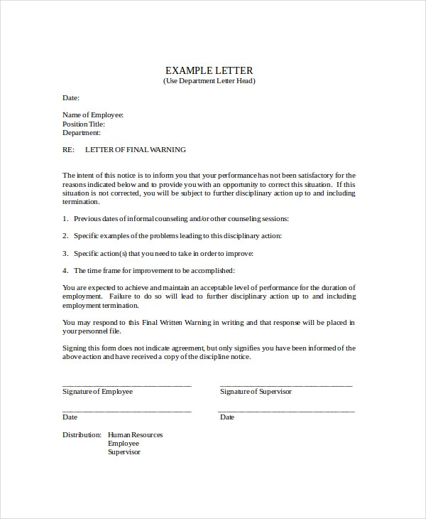 Notice Letter Template 8 Free Word PDF Documents Download – Sample Final Notice Letter