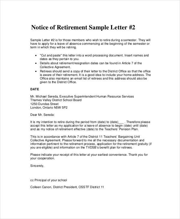 Retirement Notice Letter