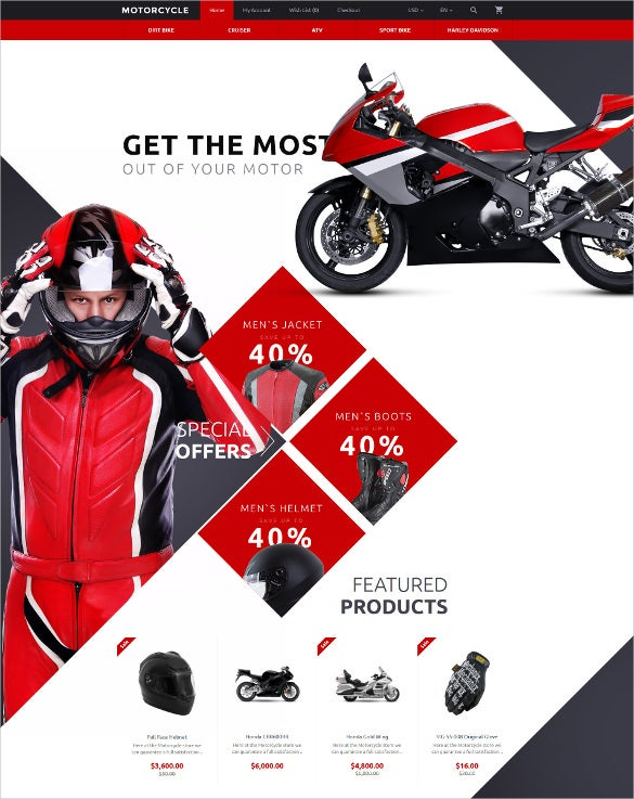 motorcycle opencart ecommerce template