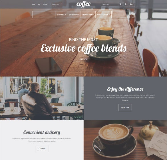 coffee shop responsive magento ecommerce theme