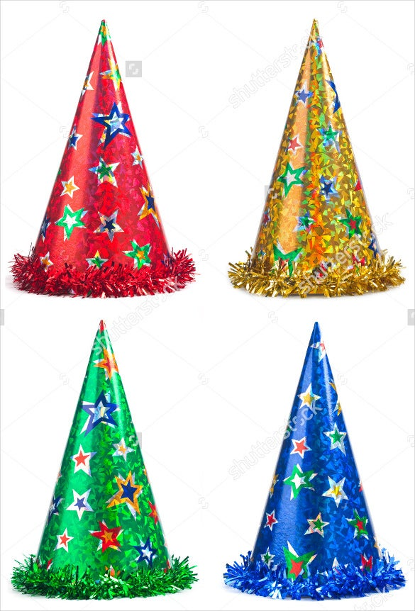 Christmas Party Hat Ideas Part - 33: Four Colorful Birthday Party Hats Template