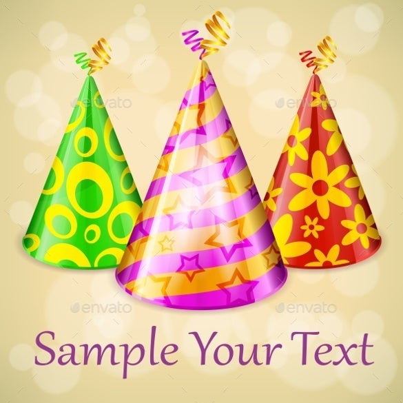 set of 3 birthday party hats template
