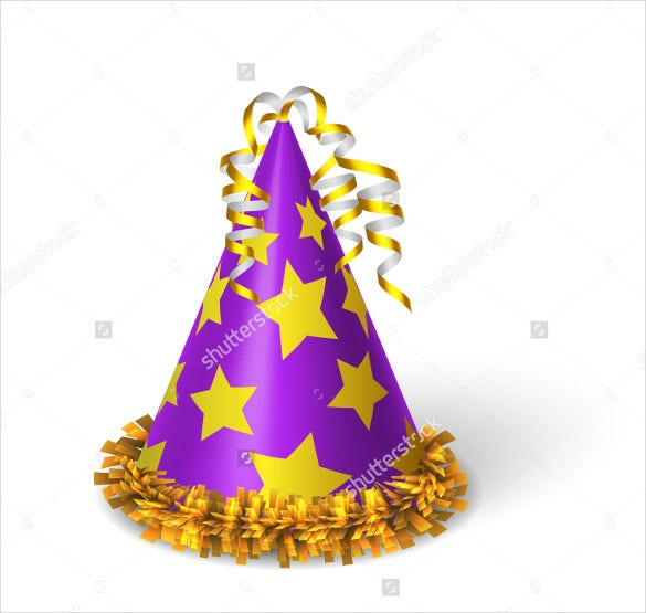violet birthday hat template with yellow stars