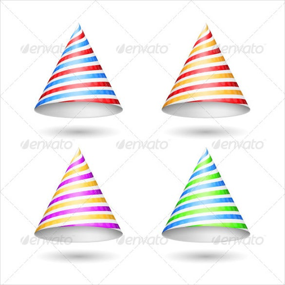 four striped birthday party hats template