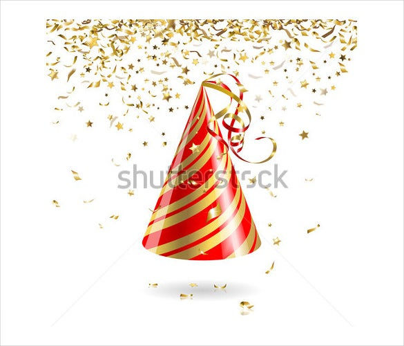 birthday party hat with gold color