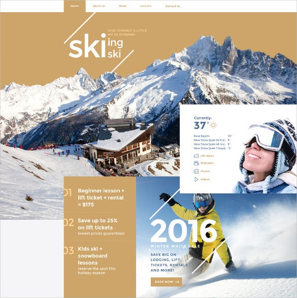 skiing html5 website template