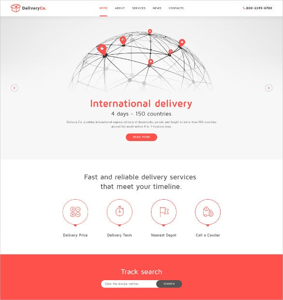 international delivery html5 website template