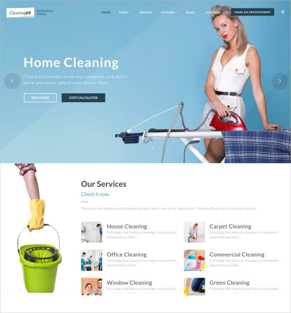cleaning69 wordpress html5 theme for house cleaning company