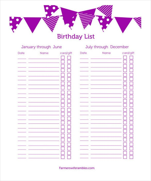 Birthday List Templates  Free Sample Example Format