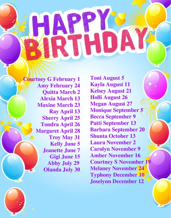 Birthday List Templates  Free Sample Example Format Download