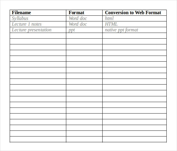 content inventory template  u2013 12  free word  excel  pdf documents download