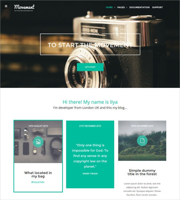 movement personal blog html5 wordpress theme