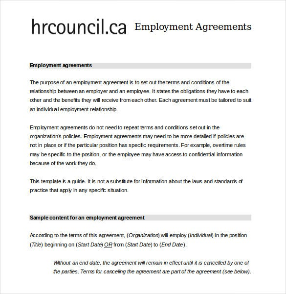 Contract Employee Agreement Employee Contract Sample Employment