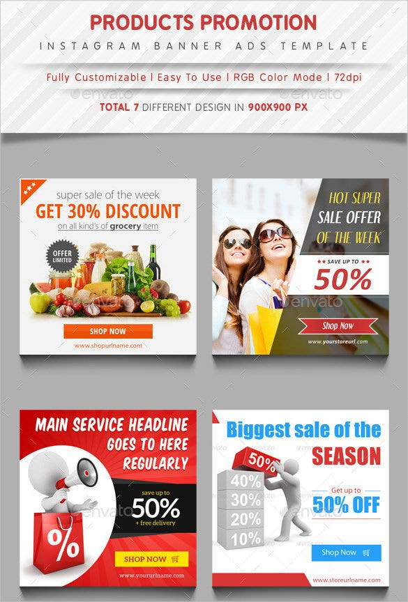 instagram banner ads template psd format download