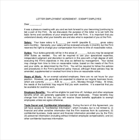 Employee agreement templates 19 free word pdf document download exempt employee employement agreement letter spiritdancerdesigns Images